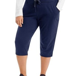 JMS Navy Blue French Terry Capris